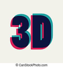 3D symbol with chromatic aberration, vector illustration
