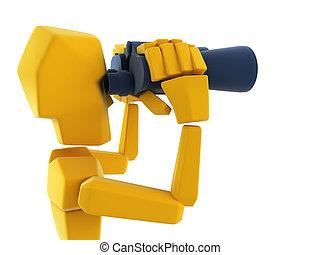 man looking through the binoculars - 3d symbolic man looking...