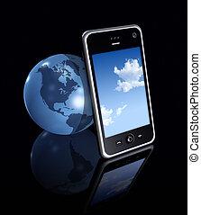 3d, téléphone portable, et, globe terre