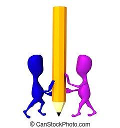 3d, títeres, balance, en, grande, lápiz amarillo