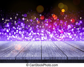 3d, tabla de madera, contra, navidad, plano de fondo, de, bokeh, luces, y, estrellas