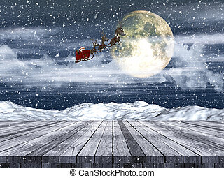3d, tabla de madera, tener cuidado, a, santa, vuelo, por, el, nevoso, cielo de la noche