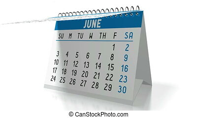 3D table calendar on white background