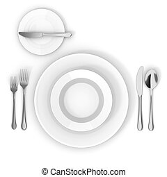 3d table setting with white empty plate, fork knife and...