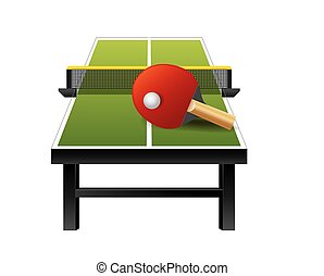 3d table tennis ping-pong equipment with net, racket and ball isolated on white background, vector