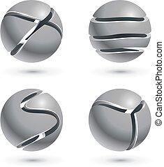 3d, taglio, metallo, sfera, segni, isolato, bianco, fondo.