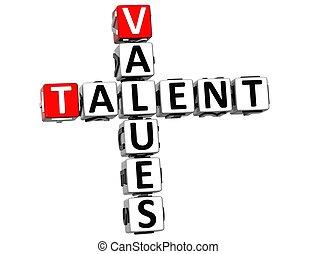 3D Talent Values Crossword