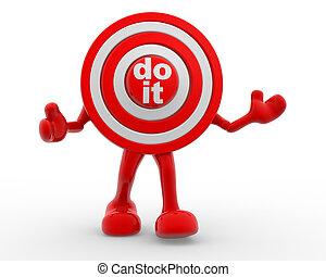 "Do it - 3d target and text ""Do it"". 3d render"