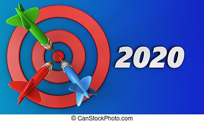 3d target circles with 2020 year sign - 3d illustration of...