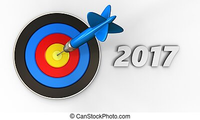 3d target with 2017 year sign