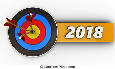 3d target with 2018 sign