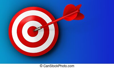3d target with red dart - 3d illustration of target with red...