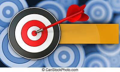 3d target with red dart
