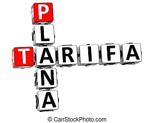 3D Tarifa Plana Crossword on white background