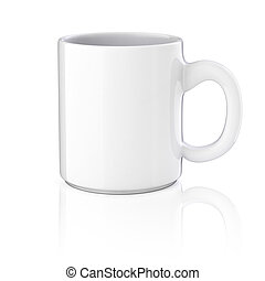 3d, tasse, blanc, fond
