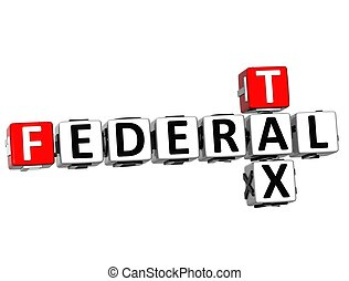 3D Tax Federal text Crossword on white background