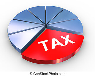 3d tax pie chart - 3d render of reflective tax pie chart