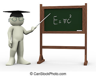 3d teacher and einsteins theory - 3d render of teacher and...