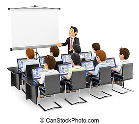 3D Teacher lecturing to students with laptops - 3d education...