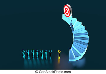 3d team businessman going to the target on top of the stairs. 3d rendering