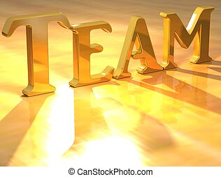 3D Team Gold text over yellow background