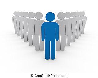 3d team leader boss company blue teamwork
