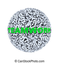 3d teamwork - alphabet letter character sphere ball