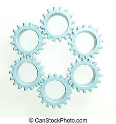 3D Teamwork circle of gears