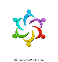 3D Teamwork colorful connected business people image design...