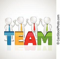 3D Teamwork executives workers logo