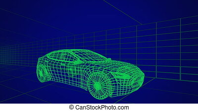3d technical drawing of car 4k