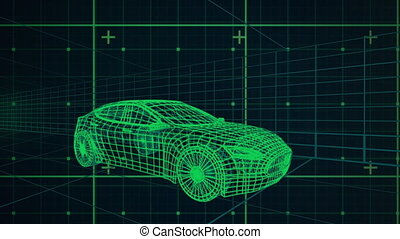 3d technical drawing of car