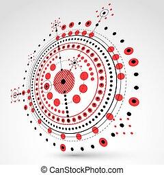 3d, technik, technologie, vektor, hintergrund., zukunftsidee, technisch, plan, in, rotes , farbe, mechanism., mechanisch, schema, dimensional, abstrakt, industrielles design, buechse, sein, gebraucht, als, website, hintergrund.