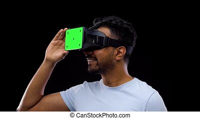 man in vr glasses or virtual reality headset