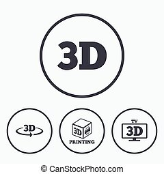 3d technology icons. Printer, rotation arrow. - 3d...
