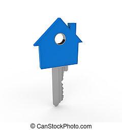 3d, tecla casa, azul