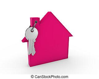3d, tecla casa, cor-de-rosa