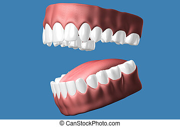3D teeth close up. - 3D teeth close up on blue background.