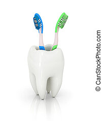 3d teeth - isolated tooth 3d illustration