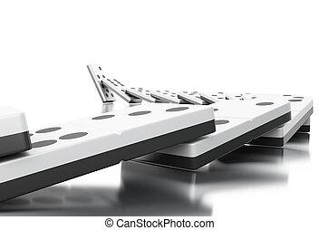 3d, tegole, fila, domino, cadere