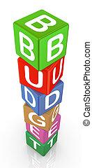 3d, tekst, blokje, begroting
