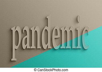 3d, tekst, van, pandemic