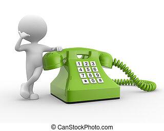 3d, teléfono., hombre