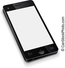 3d, telefone móvel, modelo, com, em branco, tela branca,...