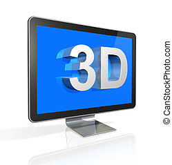 3D television screen with 3D text - three dimensional...