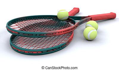 3d, tenis, equipo