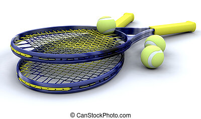 3d Tennis equipment - 3D tennis equipment isolated over...