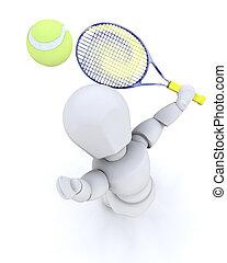 3D tennis player serving