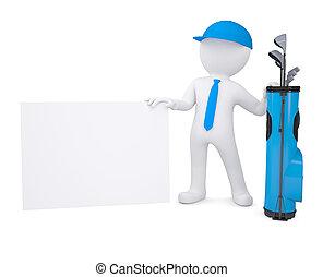3d, tenue, blanc, carton, carte, homme