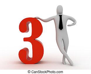 3d, ter, numere três, homem
